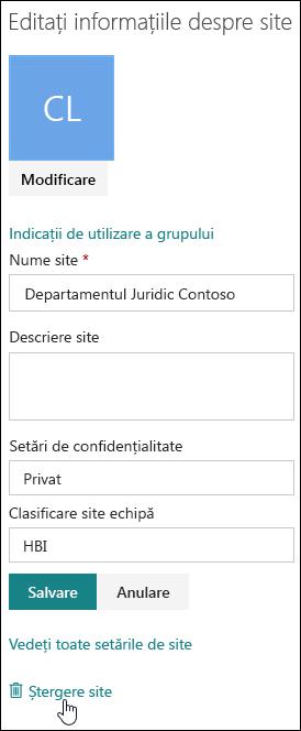 Panoul de informații site-ul SharePoint