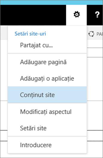 Meniul Setări cu conținut de Site evidențiată