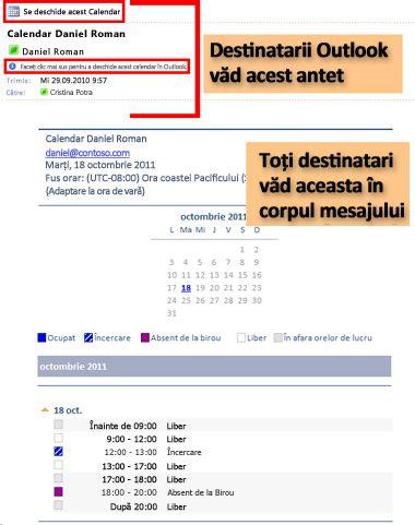 Exemplu de calendar primit utilizând funcția de trimitere a Calendarului prin poștă electronică