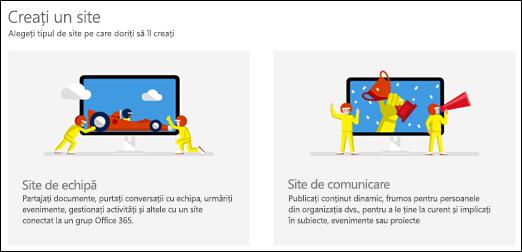 Alegeți un tip de site-ul în SharePoint Online
