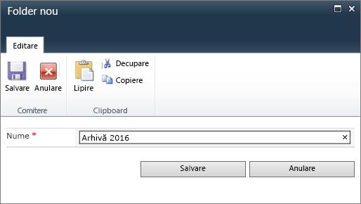 Caseta de dialog folder nou din SharePoint 2010.