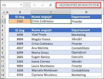 Exemplu de funcție XLOOKUP utilizată pentru a returna un nume de angajat și un departament pe baza IDt angajaților. Formula este: = XLOOKUP (B2, B5: B14, C5: D14; 0; 1)