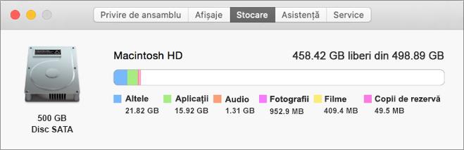 O vizualizare a unei file de stocare eșantion Macintosh afișează o imagine a unei unități de hard disk, împreună cu dimensiunea aplicațiilor stocate, a fișierelor audio, a filmelor și a altor elemente. De asemenea, afișează dimensiunea totală a spațiului de stocare și cantitatea care este gratuită.