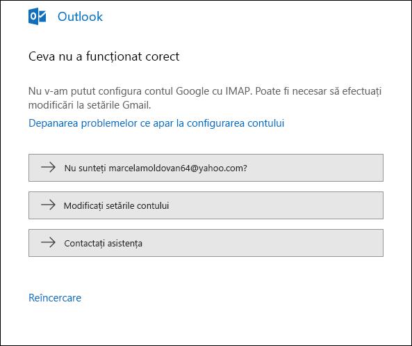 Ceva nu a funcționat bine la adăugarea unui cont de e-mail în Outlook.