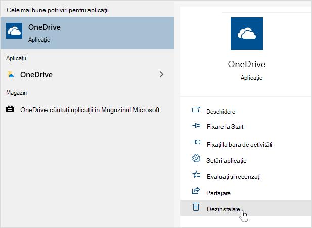 Dezinstalarea aplicației magazin OneDrive