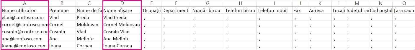 Un exemplu de fișier CSV care are rânduri necompletate specificate