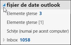 Pentru a deschide fișierul de date outlook, alegeți săgeata de lângă it.