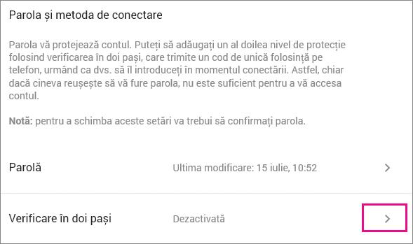 Alegeți Dezactivat pentru verificarea în 2 pași pentru a începeți să activați