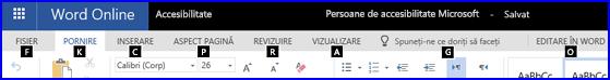 Panglica în vizualizarea editare WordOnline afișând tastelor de acces