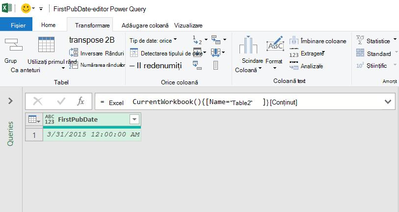 Date de tabel Excel încărcate în editorul Power Query