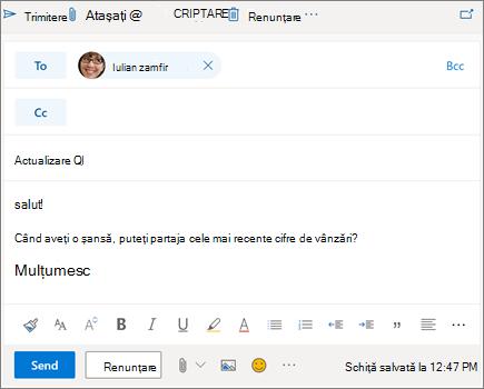 Compunerea unui mesaj de e-mail nou în Outlook pe web