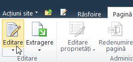 Comanda de pe fila pagină editare