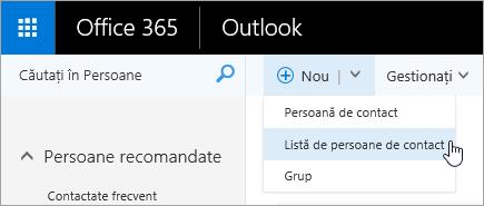 """Captură de ecran a meniului contextual pentru butonul """"nou"""", cu opțiunea """"listă de persoane de contact"""" selectată."""