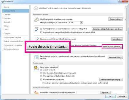 Comanda Foaie de scris și fonturi în caseta de dialog Opțiuni Outlook
