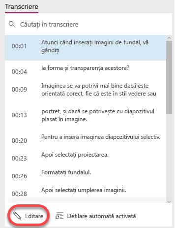Selectați butonul Editare în partea de jos a ferestrei transcriere