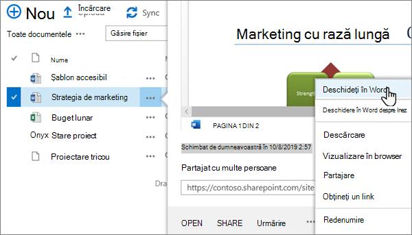 Opțiunea deschidere > deschidere în meniul aplicație selectată pentru un fișier Word în Vizualizarea clasică a portalului OneDrive online