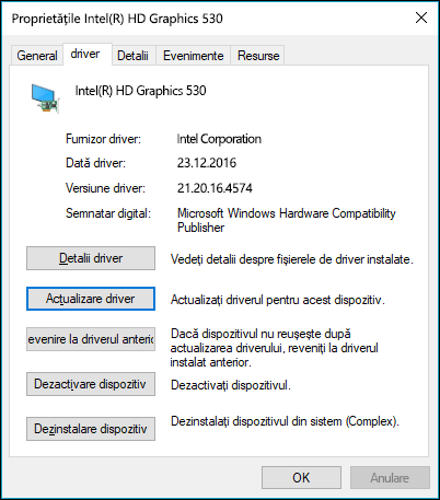 Accesați fila driver la actualizare sau revenire un driver de dispozitiv