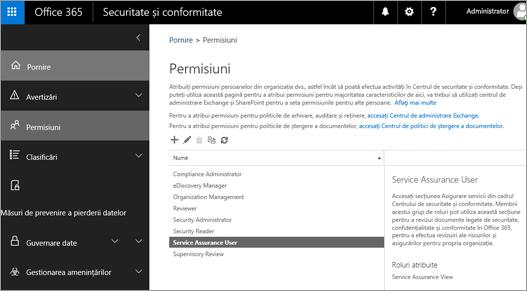 Captură de ecran a paginii de securitate și conformitate centru permisiuni cu serviciul Assurance utilizator selectat.