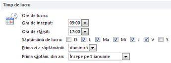 Secțiunea Timp de lucru în caseta de dialog Opțiuni Outlook