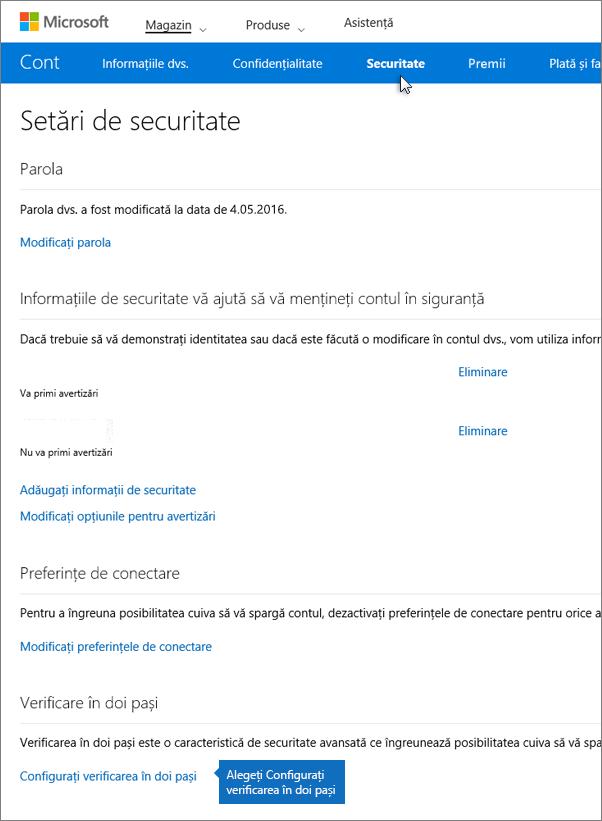 Pe pagina cu setări de securitate, alegeți Configurați verificarea în doi pași.