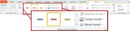 Fila Format de sub Instrumente de desen din PowerPoint 2010.