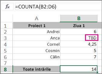 Funcția CountA cu selecția unui interval