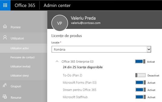 O captură de ecran ce afișează pagina Licențe de produs din Centrul de administrare Office 365, cu controlul de comutare setat la Dezactivat pentru To-Do (Plan 2).