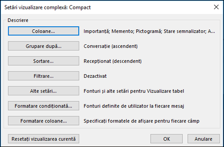 Modificarea setărilor de vizualizare.