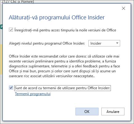 Caseta de dialog asociere la Office Insider