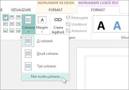 Instrumente casetă text Spațiere Între Coloane