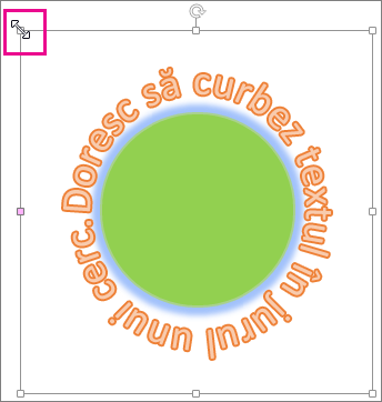 Ghidaj de dimensionare din WordArt utilizat pentru redimensionarea textului