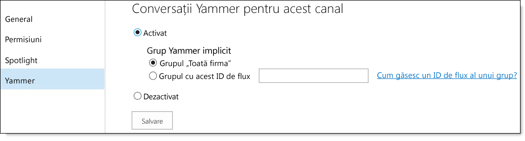 Setări Yammer O365 Video