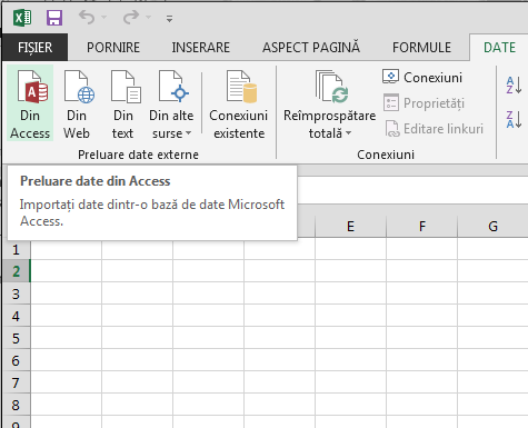 Importul datelor din Access