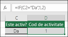 """Celula D2 conține o formulă =IF(C2=""""Da"""",1,2)"""