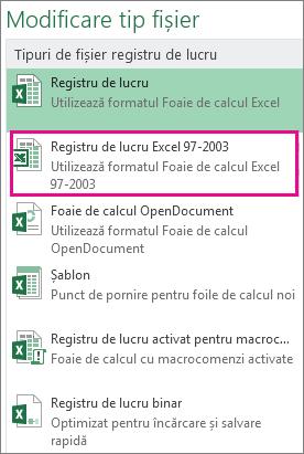 Formatul Registru de lucru Excel 97-2003