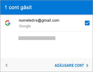 Atingeți Adăugare cont pentru a vă adăuga contul Gmail la aplicație
