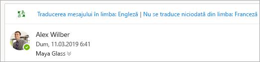 Captură de ecran cu solicitarea de a traduce un mesaj