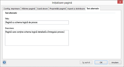 Caseta de dialog Text alternativ pentru o pagină din Visio.