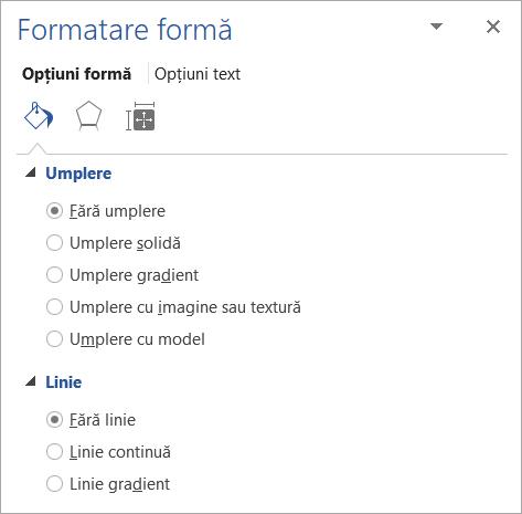 Selectarea fără umplere și fără linie pentru o casetă text