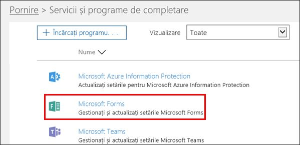 Setări de administrare Microsoft Forms