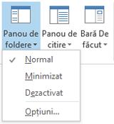 În meniul Panou de foldere, este selectat Normal.