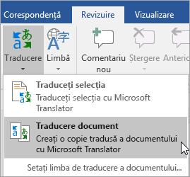 Afișează opțiunea traducere Document sub fila revizuire