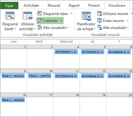 Captură de ecran compusă, cu grupurile Vizualizări activități și Vizualizări resurse pe fila Vizualizare și un plan de proiect în vizualizarea Calendar.
