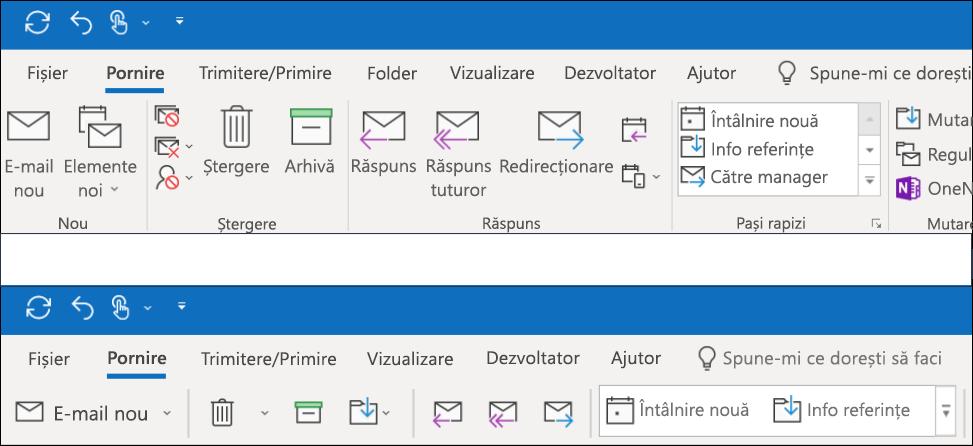 Acum puteți alege dintre două experiențe diferite din panglică în Outlook.