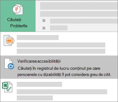 Element de meniu Verificare accesibilitate