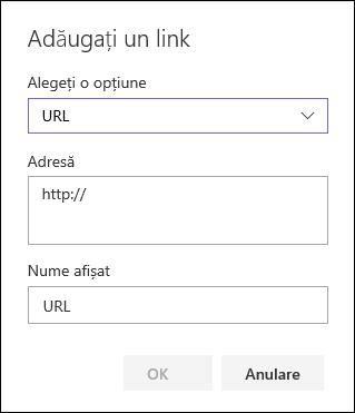 Adăugarea unui link URL la navigarea stângă a unui site de echipă SharePoint
