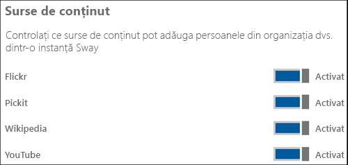 """Captură de ecran: în secțiunea """"Surse de conținut"""", setați comutatoarele diferitelor surse de conținut la """"Activat"""" sau la """"Dezactivat""""."""