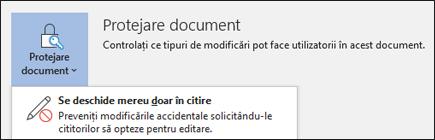 Controlul Protejare document a fost selectat, afișând opțiunea Se deschide mereu doar în citire.