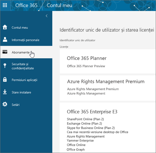 Pagina Abonamente Office 365
