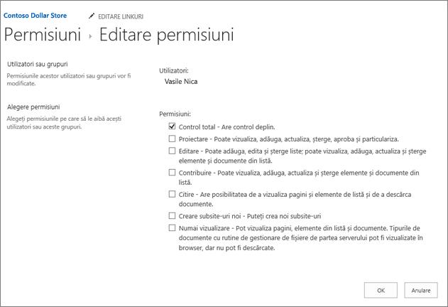 Modificarea permisison niveluri în caseta de dialog permisiuni